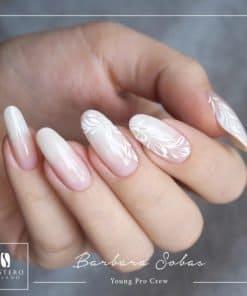 nail art rubberbase, gelpolish nude, mistero milano, wit roze nail art